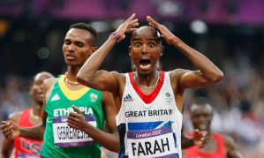Britain's Mo Farah reacts