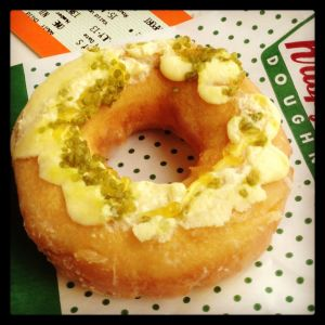 Lemon something-or-other Krispy Kreme donut