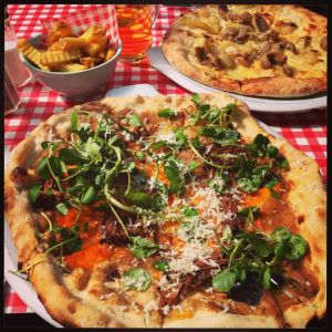 Braised brisket, oxtail, horseradish & watercress pizza