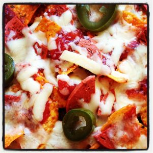 Nachos with low fat cheese, quorn pepperoni and jalapenos