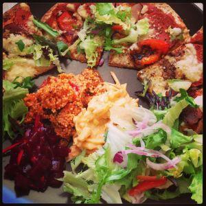 wholewheat tortilla pizza with salady stuff