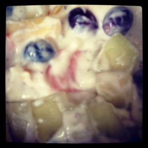 Total Greek yoghurt with melon, pineapple, grapes, chia and flax